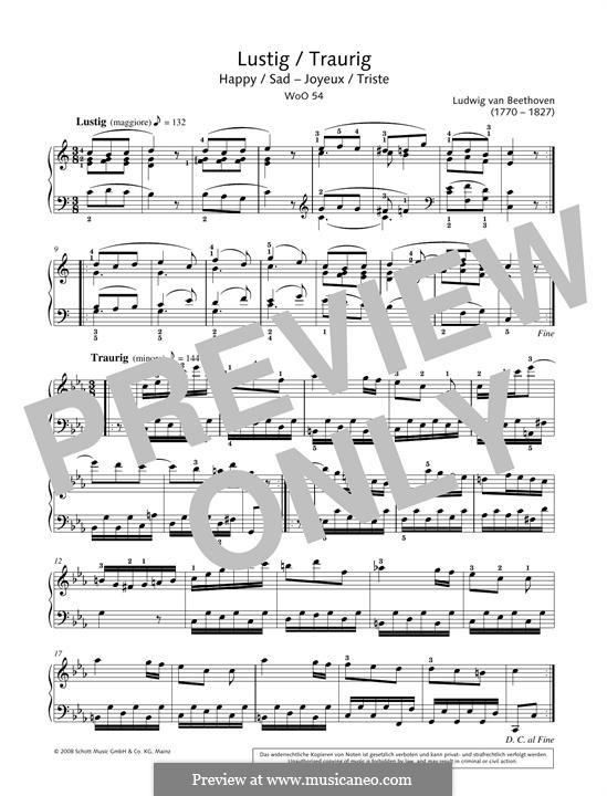 Lustig-Traurig, WoO 54: Für Klavier by Ludwig van Beethoven