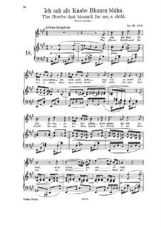 Lieder und Gesänge, Op.63: Nr.9 Ich sah als Knabe Blumen blühn by Johannes Brahms