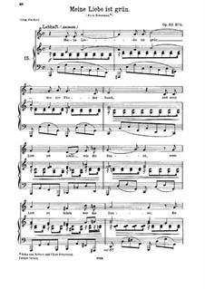 Lieder und Gesänge, Op.63: Nr.5 Meine Liebe ist grün by Johannes Brahms