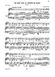 Fünf Lieder, Op.71: Nr.1 Es liebt sich so lieblich im Lenze by Johannes Brahms