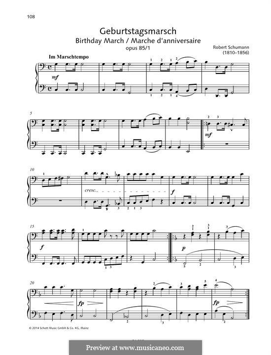 Zwölf Stücke für Klavier, vierhändig, Op.85: No.1 Birthday March, for piano by Robert Schumann