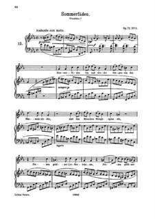 Fünf Lieder, Op.72: Nr.2 Sommerfäden by Johannes Brahms