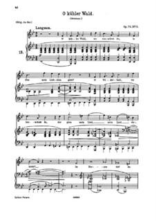 Fünf Lieder, Op.72: Nr.3 O kühler Wald by Johannes Brahms