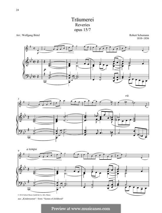 Nr.7 Träumerei: For any instrument and piano by Robert Schumann