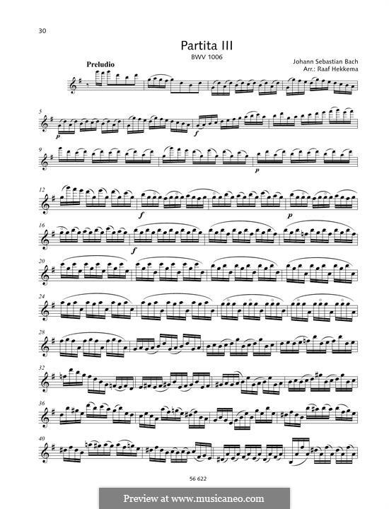 Partita für Violine Nr.3 in E-Dur, BWV 1006: Für einen Interpreten by Johann Sebastian Bach