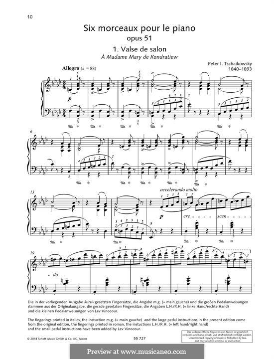Sechs Stücke für Klavier, TH 143 Op.51: No.1 Valse de salon by Pjotr Tschaikowski