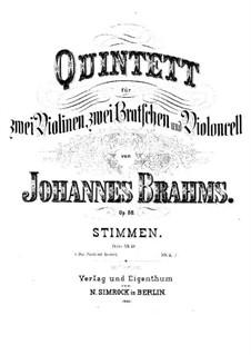 Streichquintett Nr.1 in F-Dur, Op.88: Stimmen by Johannes Brahms