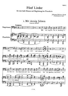 Fünf Lieder, Op.94: Vollsammlung by Johannes Brahms