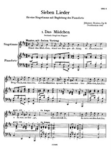 Sieben Lieder, Op.95: Vollsammlung by Johannes Brahms