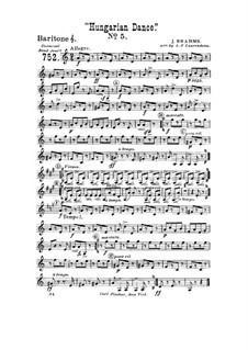 Tanz Nr.5 in fis-Moll: Für Blasorchester – Baritonhornstimme in Violinschlüssel by Johannes Brahms