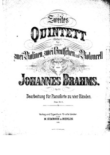 Streichquintett Nr.2 in G-Dur, Op.111: Version für Klavier, vierhändig by Johannes Brahms