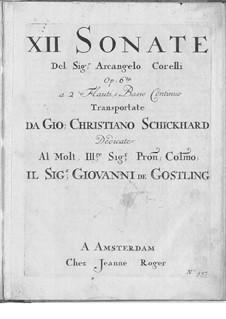 Zwölf Sonaten, für zwei Flöten und Basso Continuo, Op.6: Zwölf Sonaten, für zwei Flöten und Basso Continuo by Arcangelo Corelli