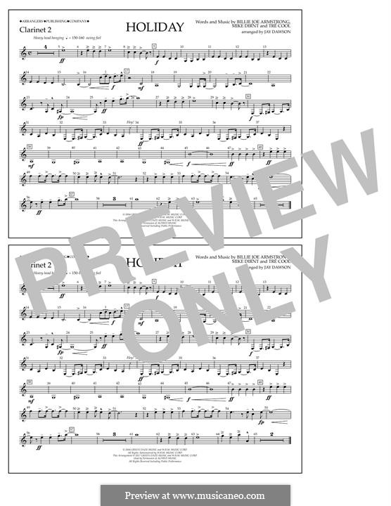 Holiday (Green Day): Bb Clarinet 2 part by Billie Joe Armstrong, Tré Cool, Michael Pritchard