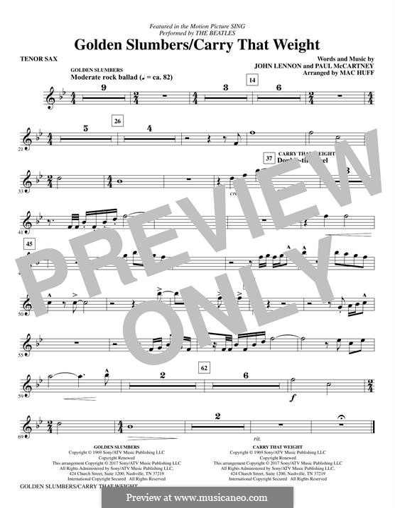 Golden Slumbers / Carry That Weight / The End: Tenor Saxophone part by John Lennon, Paul McCartney