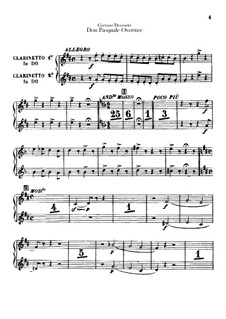 Don Pasquale: Overture – Clarinets part by Gaetano Donizetti