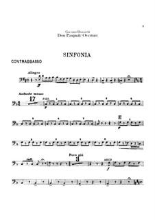 Don Pasquale: Ouvertüre – Kontrabassstimme by Gaetano Donizetti