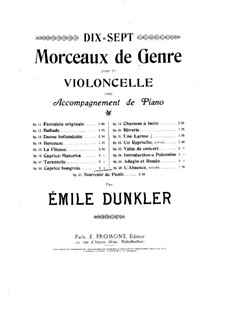 Ungarische Caprice für Cello und Klavier, Op.18: Ungarische Caprice für Cello und Klavier by Emile Dunkler