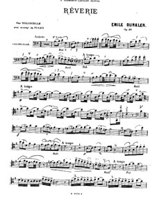 Rêverie für Cello und Klavier, Op.20: Solostimme, Partitur für zwei Interpreten by Emile Dunkler