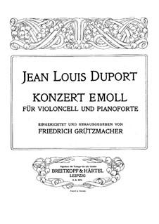 Konzert für Cello und Orchester Nr.4 in e-Moll: Version für Cello und Klavier by Jean-Louis Duport