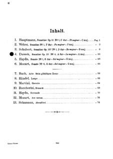 Sechs Sonatinen für Klavier, Op.20: Nr.4 in A-Dur für Violine und Klavier by Jan Ladislav Dussek