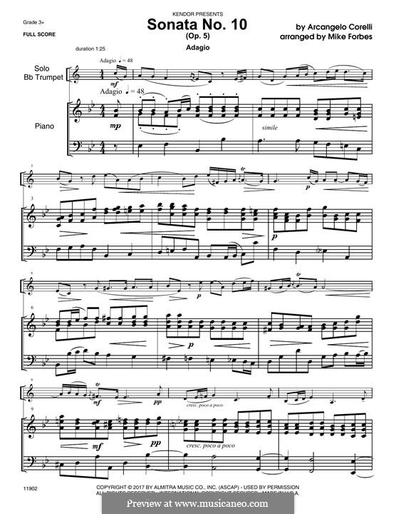 Sonate Nr.10: For trumpet and piano – Piano Accompaniment by Arcangelo Corelli