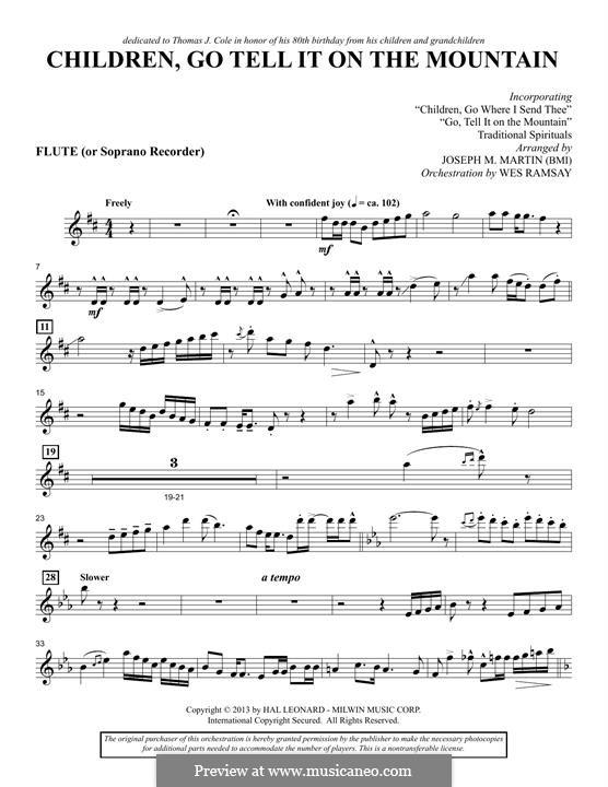 Children, Go Tell It on the Mountain (arr. Joseph M. Martin): Flute/Soprano Recorder part by folklore