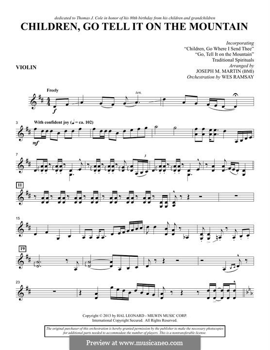 Children, Go Tell It on the Mountain (arr. Joseph M. Martin): Violinstimme by folklore