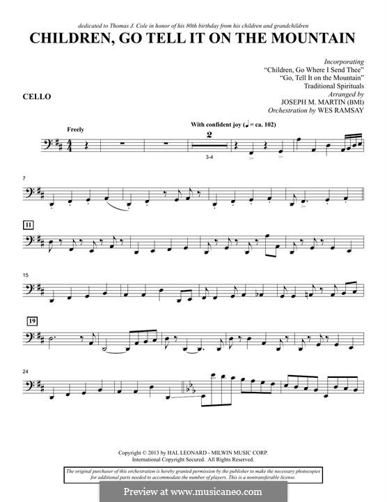 Children, Go Tell It on the Mountain (arr. Joseph M. Martin): Cellostimme by folklore