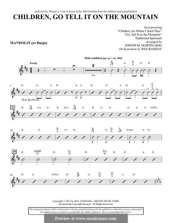 Children, Go Tell It on the Mountain (arr. Joseph M. Martin): Mandolin/Banjo part by folklore