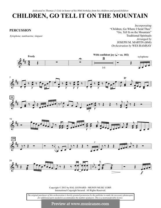 Children, Go Tell It on the Mountain (arr. Joseph M. Martin): Schlagzeugstimme by folklore