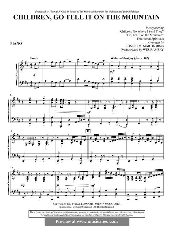 Children, Go Tell It on the Mountain (arr. Joseph M. Martin): Klavierstimme by folklore