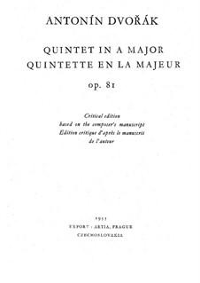 Klavierquntett Nr.2 in A-Dur, B.155 Op.81: Vollpartitur by Antonín Dvořák