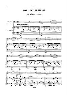 Nocturnes für Klavier: Nocturne Nr.5 für Violine (oder Flöte, oder Cello) und Klavier – Partitur by John Field