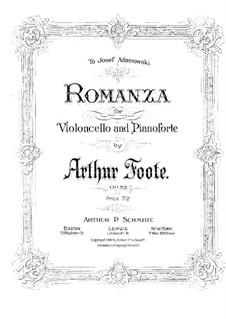 Romanze für Cello und Klavier, Op.33: Solostimme by Arthur  Foote