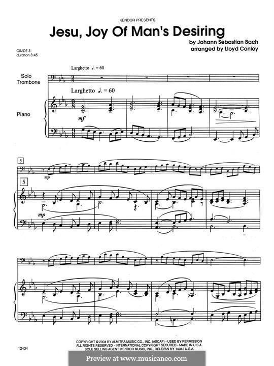 Wohl mir, dass ich Jesum habe: For trombone and piano – Piano Accompaniment by Johann Sebastian Bach