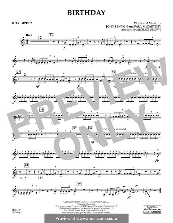 Birthday (Concert Band version): Bb Trumpet 2 part by John Lennon, Paul McCartney