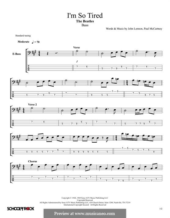 I'm So Tired (The Beatles): Für Bassgitarre by John Lennon, Paul McCartney
