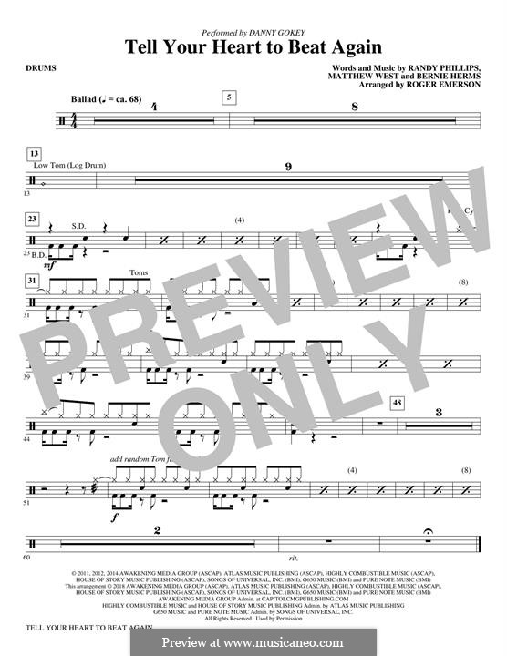 Tell Your Heart to Beat Again: Drums part by Bernie Herms, Matthew West, Randy Phillips