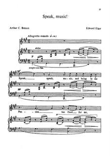 Zwei Lieder, Op.41: No.2 Speak, Music by Edward Elgar