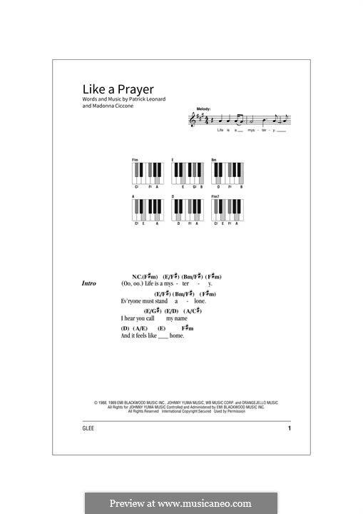 Like a Prayer: Text und Akkorde by Madonna, Patrick Leonard