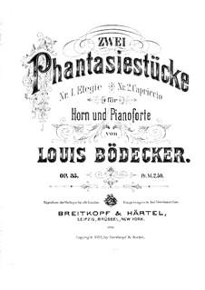 Zwei Fantasiestücke für Waldhorn und Klavier, Op.35: Partitur by Louis Bödecker