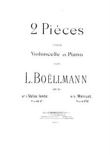 Zwei Stücke für Cello und Klavier, Op.31: Partitur by Léon Boëllmann