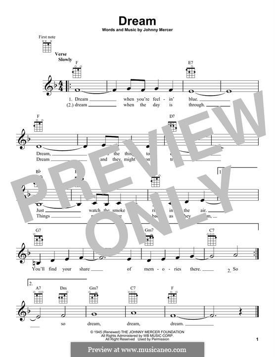 Dream (Frank Sinatra): Für Ukulele by Johnny Mercer