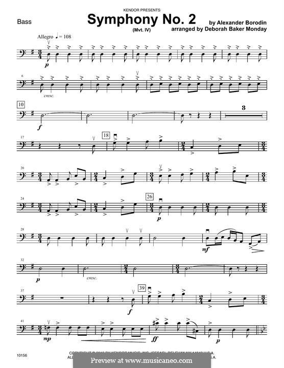 Sinfonie Nr.2 in h-Moll: Movement IV – Bass part by Alexander Porfiryevich Borodin