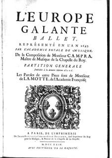 L'Europe galante: Prolog (oder Akt I) by André Campra