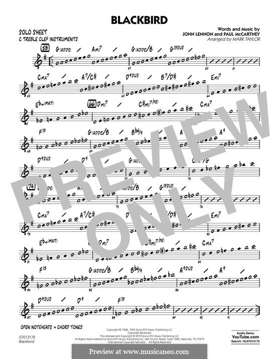 Blackbird (arr. Mark Taylor): C Solo Sheet part by John Lennon, Paul McCartney