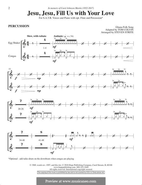 Jesu, Jesu, Fill Us with Your Love: Schlagzeugstimme by folklore