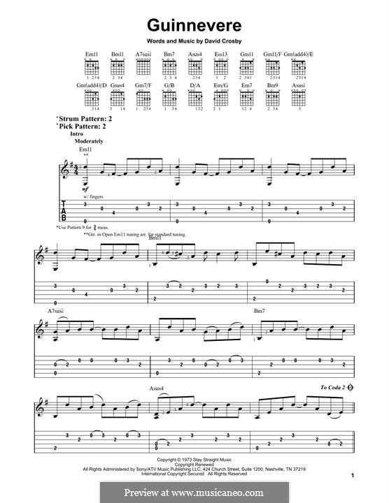 Guinnevere (Crosby, Stills & Nash): Für Gitarre by David Crosby