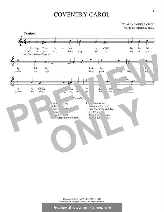 Coventry Carol: Für Flöte by folklore