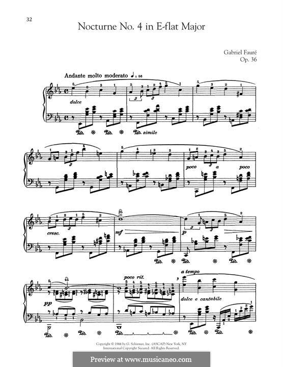 Nocturne für Klavier Nr.4 in Es-Dur, Op.36: Für einen Interpreten by Gabriel Fauré